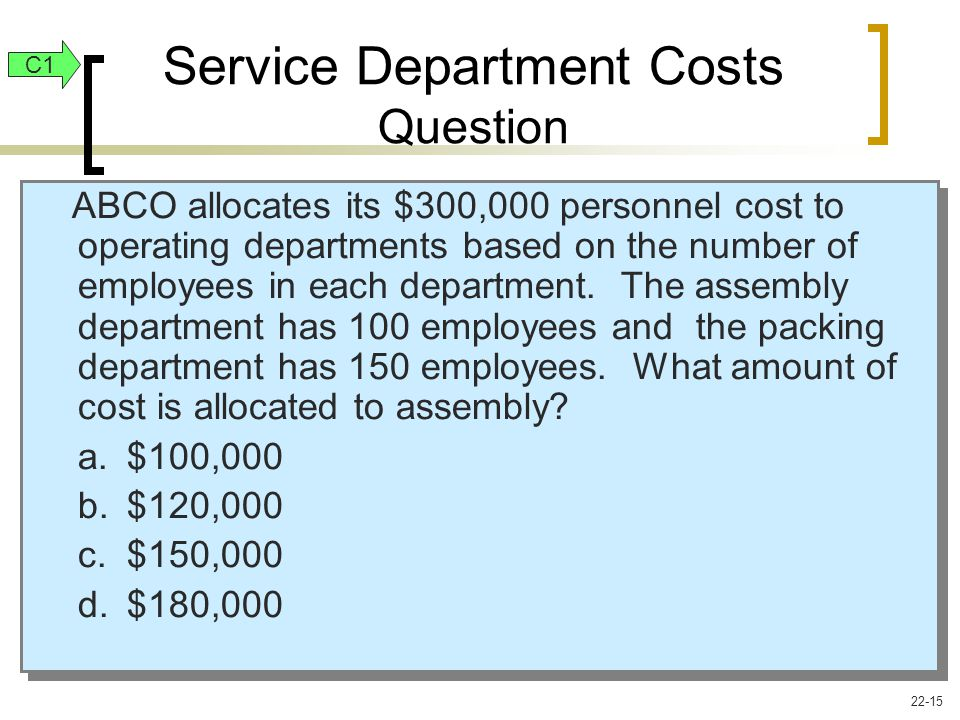 ABCO allocates its $300,000 personnel cost to operating departments based on the number of employees in each department.