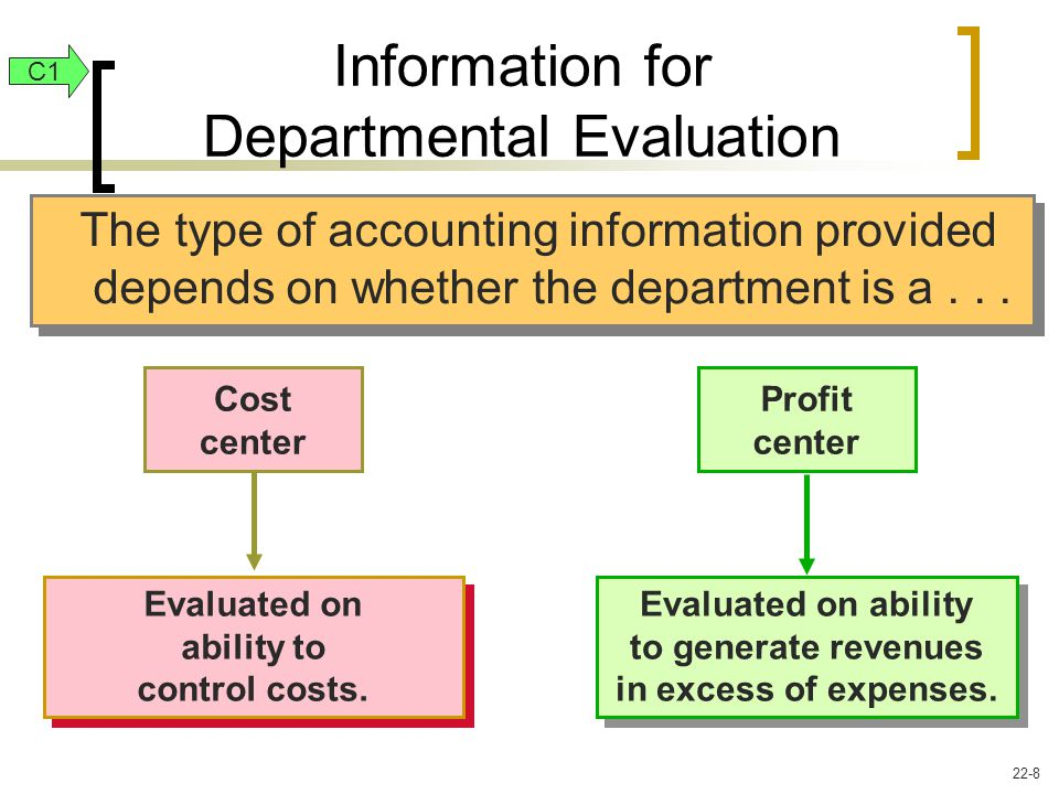 The type of accounting information provided depends on whether the department is a...