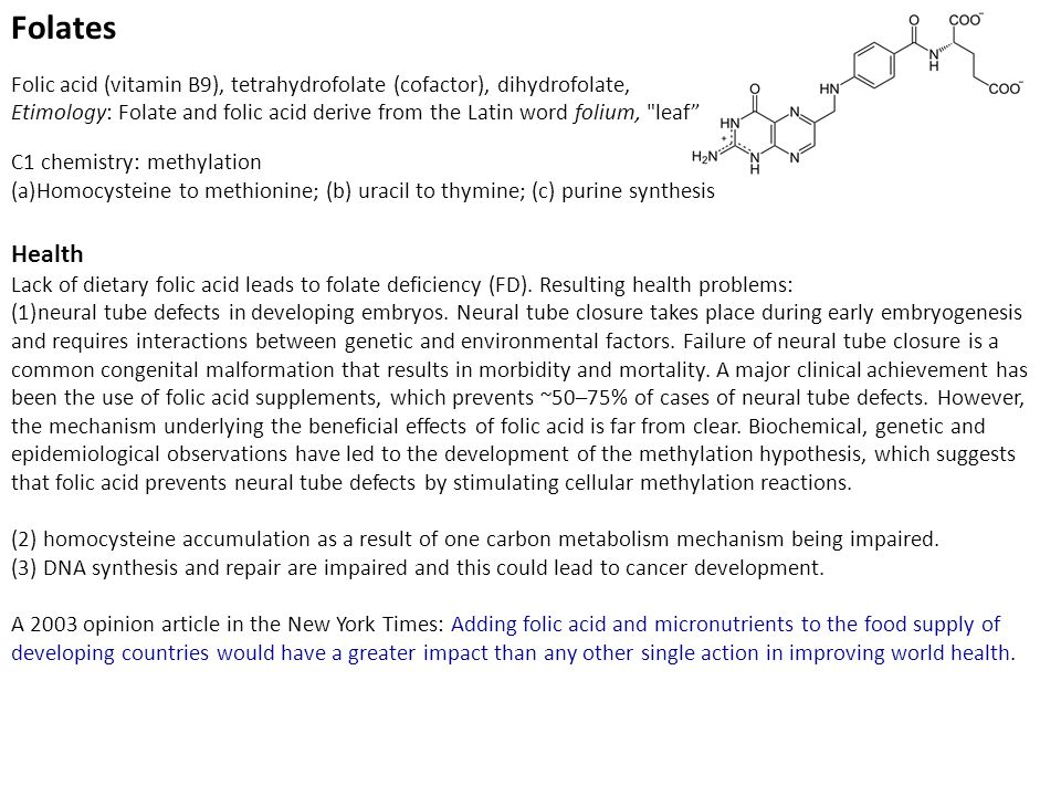 Folates Folic acid (vitamin B9), tetrahydrofolate (cofactor), dihydrofolate, Etimology: Folate and folic acid derive from the Latin word folium, leaf C1 chemistry: methylation (a)Homocysteine to methionine; (b) uracil to thymine; (c) purine synthesis Health Lack of dietary folic acid leads to folate deficiency (FD).