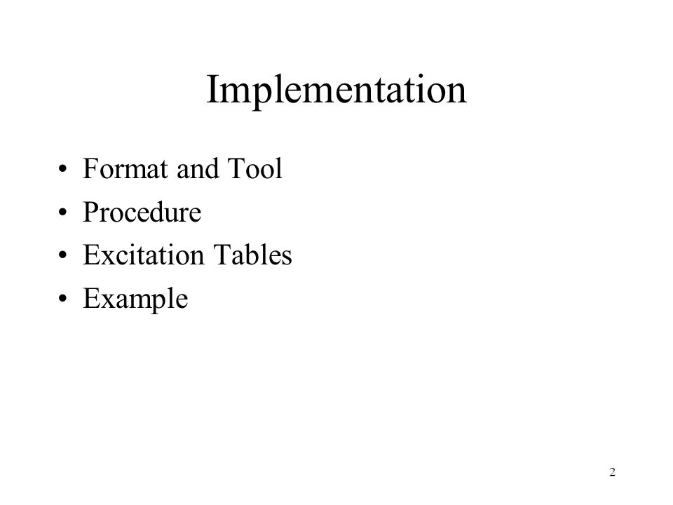 Implementation Format and Tool Procedure Excitation Tables Example 2