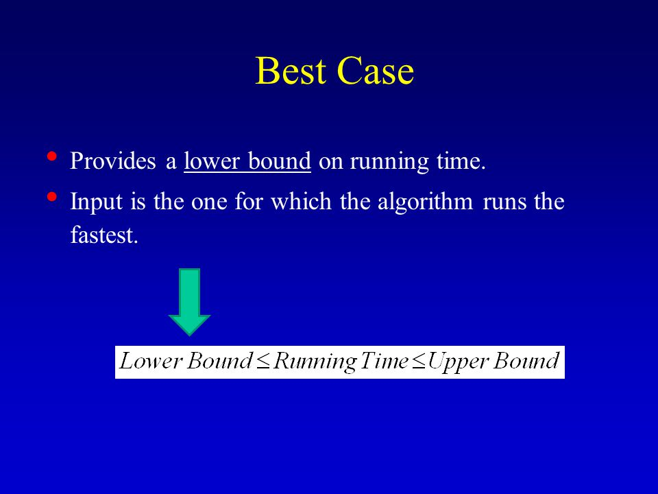 Worst Case Provides an upper bound on running time.