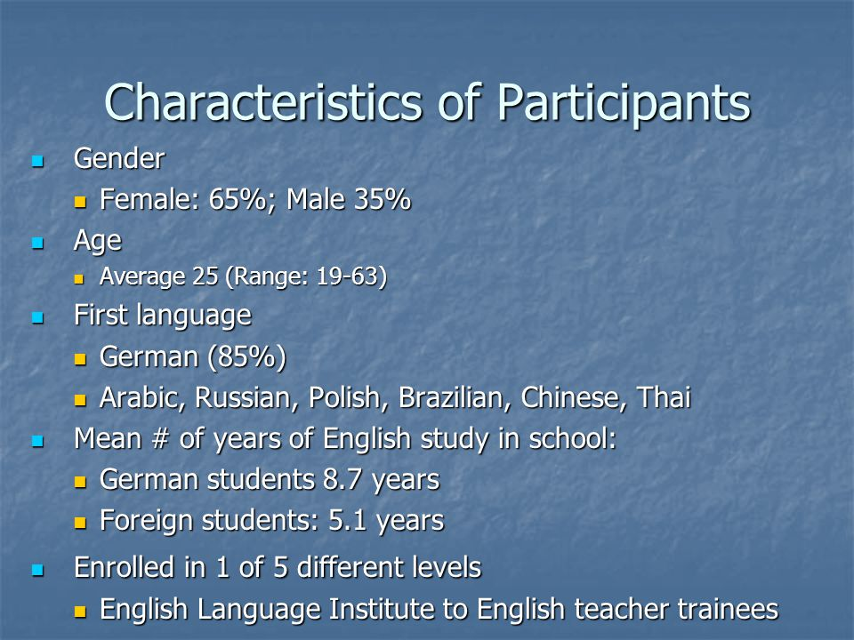 Characteristics of Participants Gender Gender Female: 65%; Male 35% Female: 65%; Male 35% Age Age Average 25 (Range: 19-63) Average 25 (Range: 19-63)