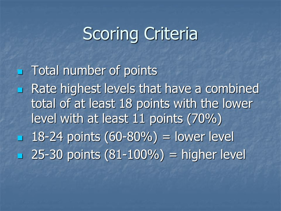 Scoring Criteria Total number of points Total number of points Rate highest levels that have a combined total of at least 18 points with the lower level with at least 11 points (70%) Rate highest levels that have a combined total of at least 18 points with the lower level with at least 11 points (70%) points (60-80%) = lower level points (60-80%) = lower level points (81-100%) = higher level points (81-100%) = higher level