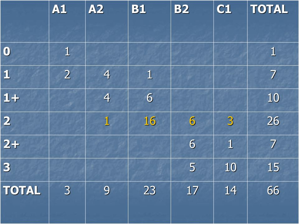 A1A2B1B2C1TOTAL 011 12417 1+4610 21166326 2+617 351015 TOTAL3923171466