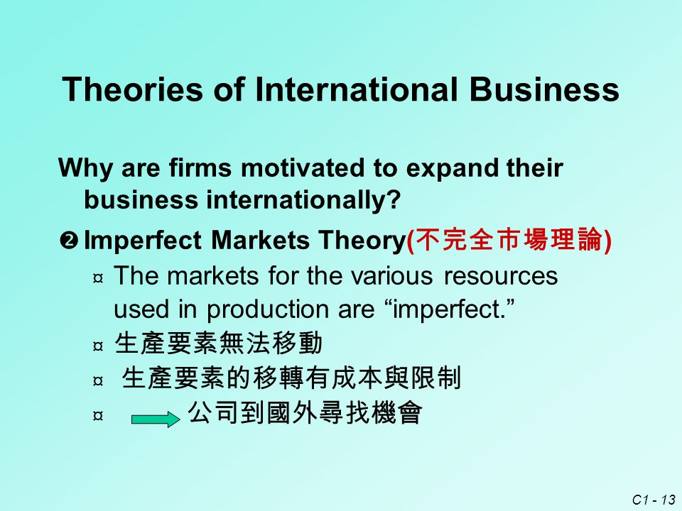 C1 - 13 Theories of International Business Why are firms motivated to expand their business internationally.