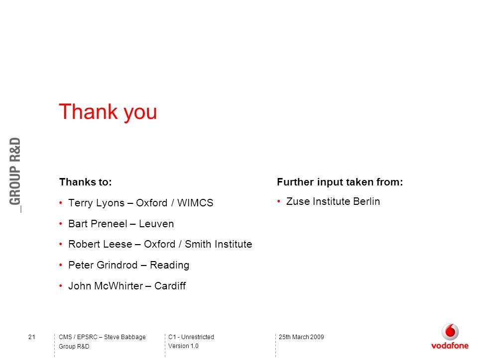 C1 - Unrestricted Version 1.0 Group R&D CMS / EPSRC – Steve Babbage2125th March 2009 Thanks to: Terry Lyons – Oxford / WIMCS Bart Preneel – Leuven Robert Leese – Oxford / Smith Institute Peter Grindrod – Reading John McWhirter – Cardiff Thank you Further input taken from: Zuse Institute Berlin