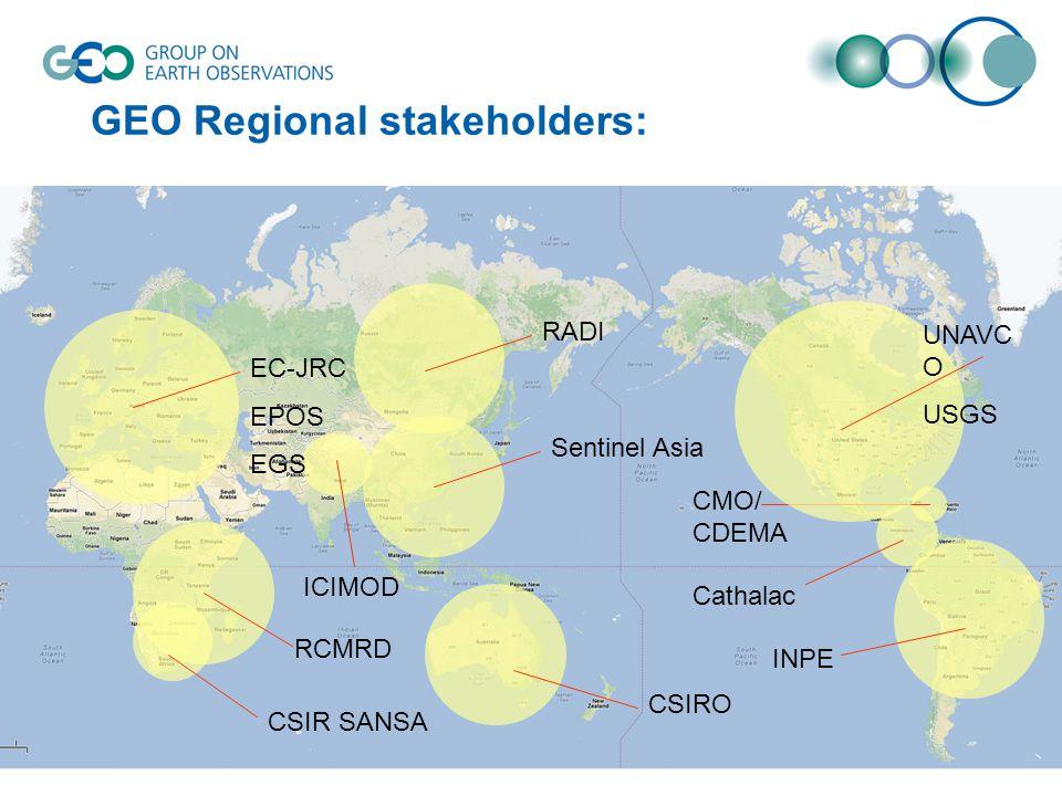 GEO Regional stakeholders: RCMRD INPE Cathalac ICIMOD CMO/ CDEMA CSIR SANSA Sentinel Asia EC-JRC EPOS EGS RADI UNAVC O USGS CSIRO