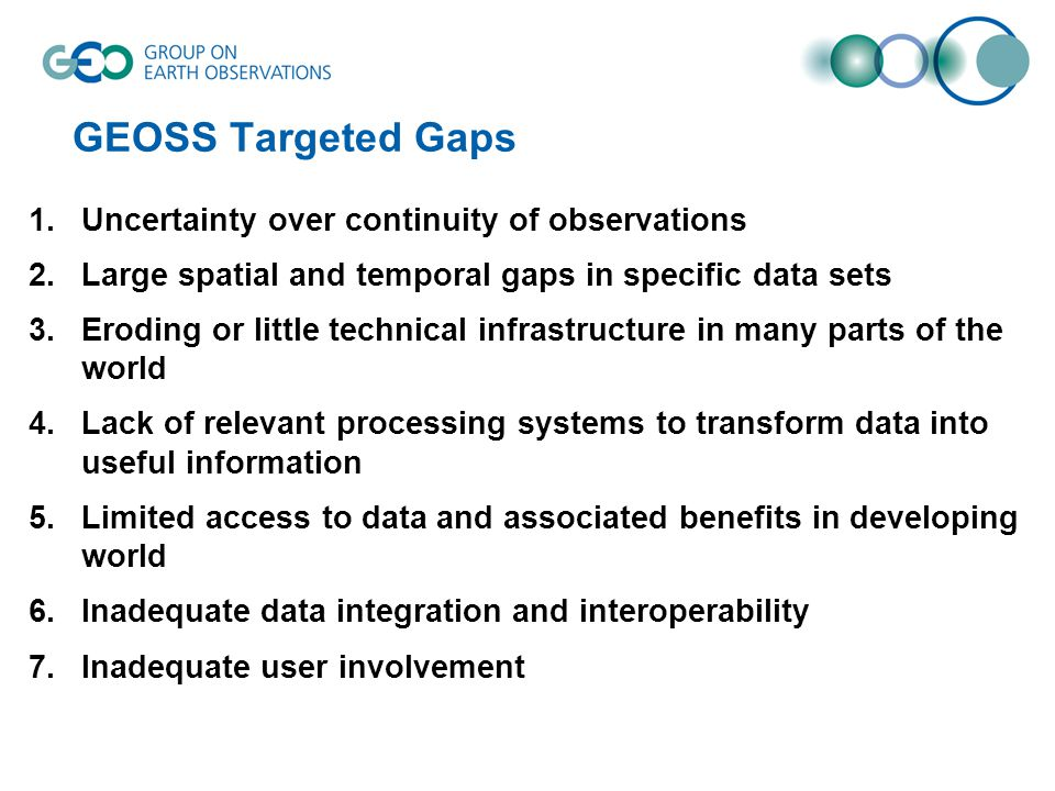 1.Uncertainty over continuity of observations 2.Large spatial and temporal gaps in specific data sets 3.Eroding or little technical infrastructure in many parts of the world 4.Lack of relevant processing systems to transform data into useful information 5.Limited access to data and associated benefits in developing world 6.Inadequate data integration and interoperability 7.Inadequate user involvement GEOSS Targeted Gaps