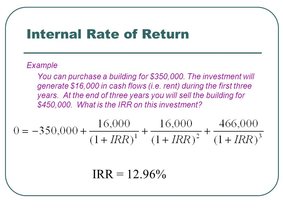 Internal Rate of Return Example You can purchase a building for $350,000.