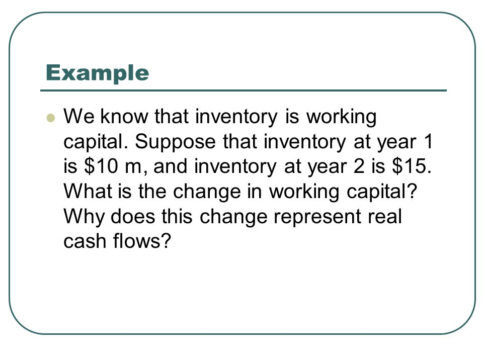 Example We know that inventory is working capital.