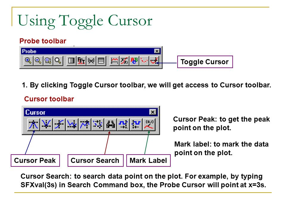 Using Toggle Cursor Toggle Cursor Probe toolbar Cursor PeakCursor SearchMark Label Cursor toolbar 1.