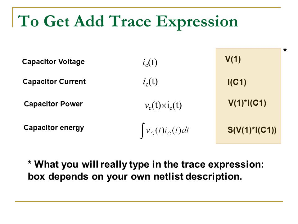 To Get Add Trace Expression i c (t) V(1) i c (t) I(C1) v c (t)  i c (t) V(1)*I(C1) S(V(1)*I(C1)) Capacitor Voltage Capacitor Current Capacitor Power Capacitor energy * What you will really type in the trace expression: box depends on your own netlist description.