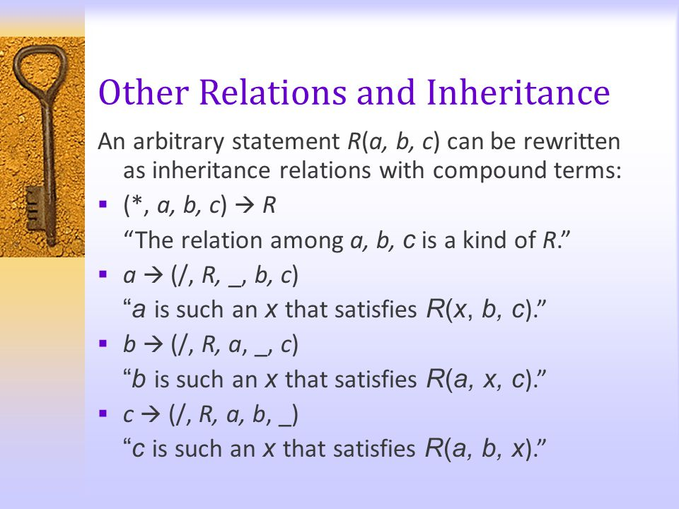 "Other Relations and Inheritance An arbitrary statement R(a, b, c) can be rewritten as inheritance relations with compound terms:  (*, a, b, c)  R ""T"