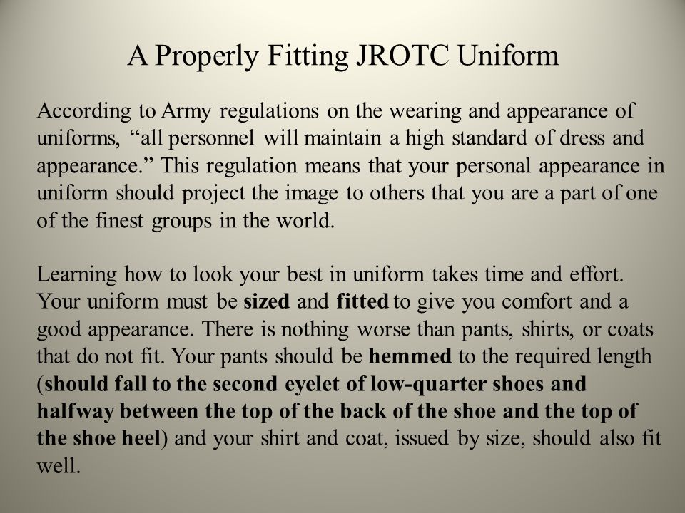"According to Army regulations on the wearing and appearance of uniforms, ""all personnel will maintain a high standard of dress and appearance."" This r"