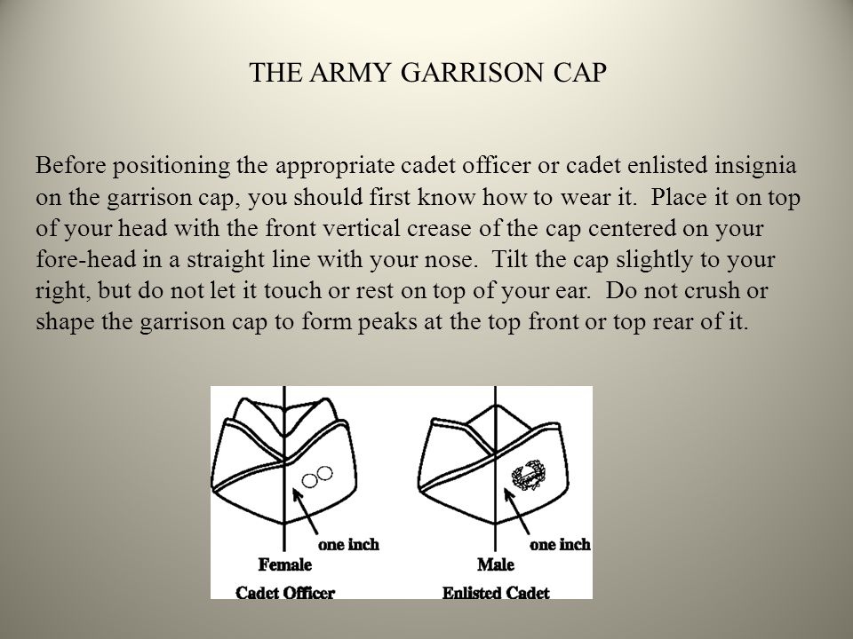 Before positioning the appropriate cadet officer or cadet enlisted insignia on the garrison cap, you should first know how to wear it. Place it on top