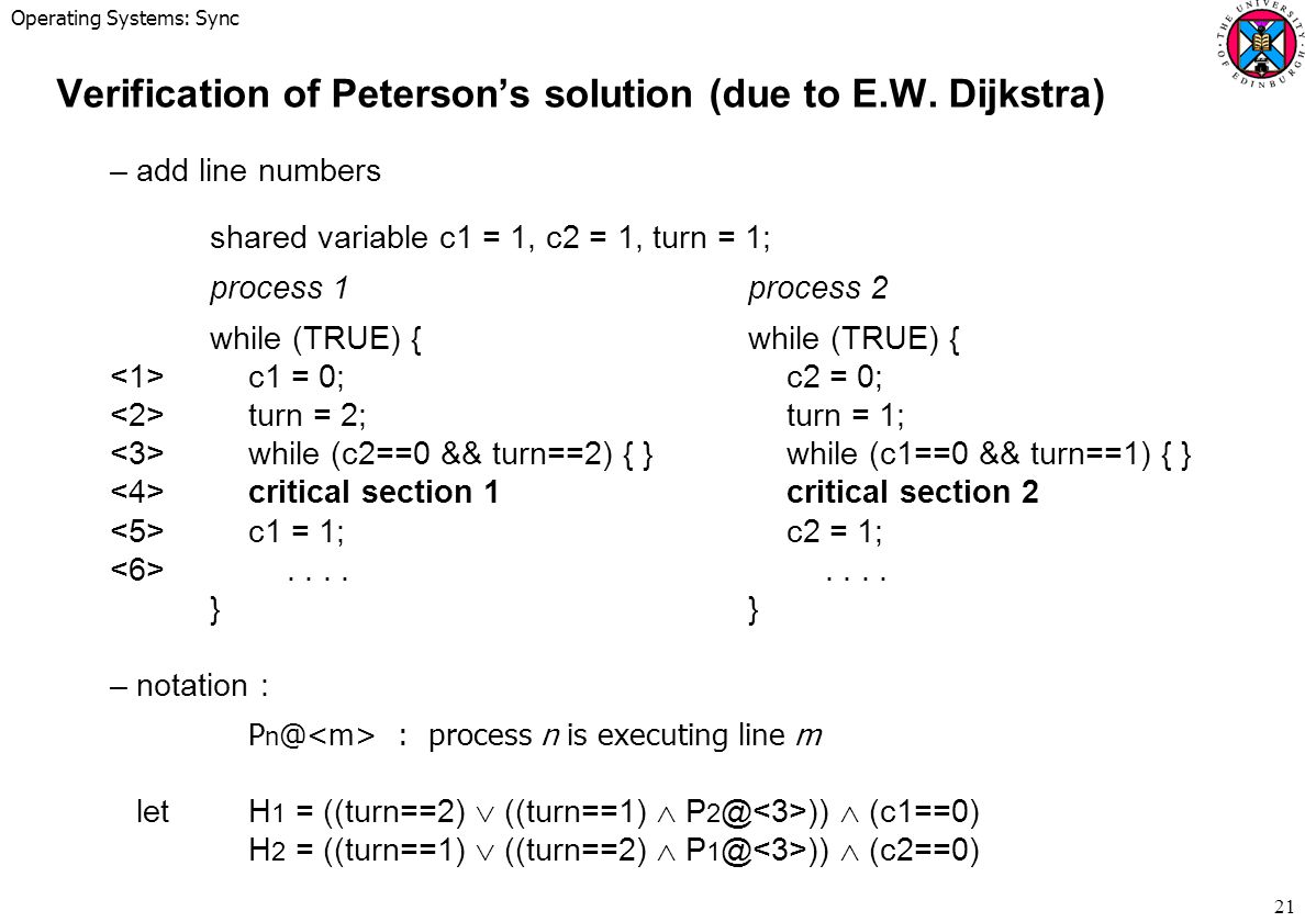 Operating Systems: Sync 21 Verification of Peterson's solution (due to E.W.