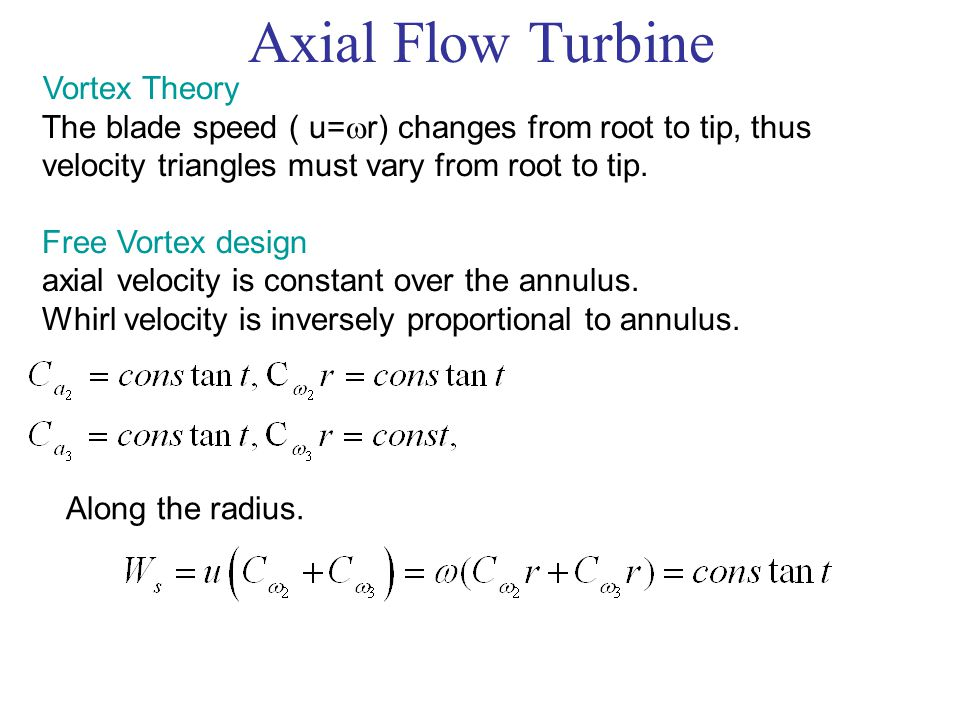 Axial Flow Turbine Vortex Theory The blade speed ( u=  r) changes from root to tip, thus velocity triangles must vary from root to tip. Free Vortex d