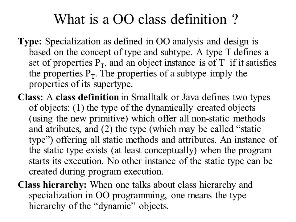 What is a OO class definition .