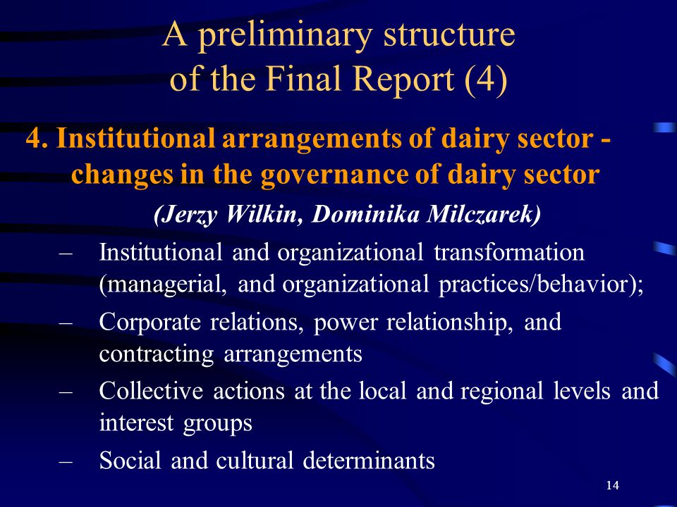 14 A preliminary structure of the Final Report (4) 4.