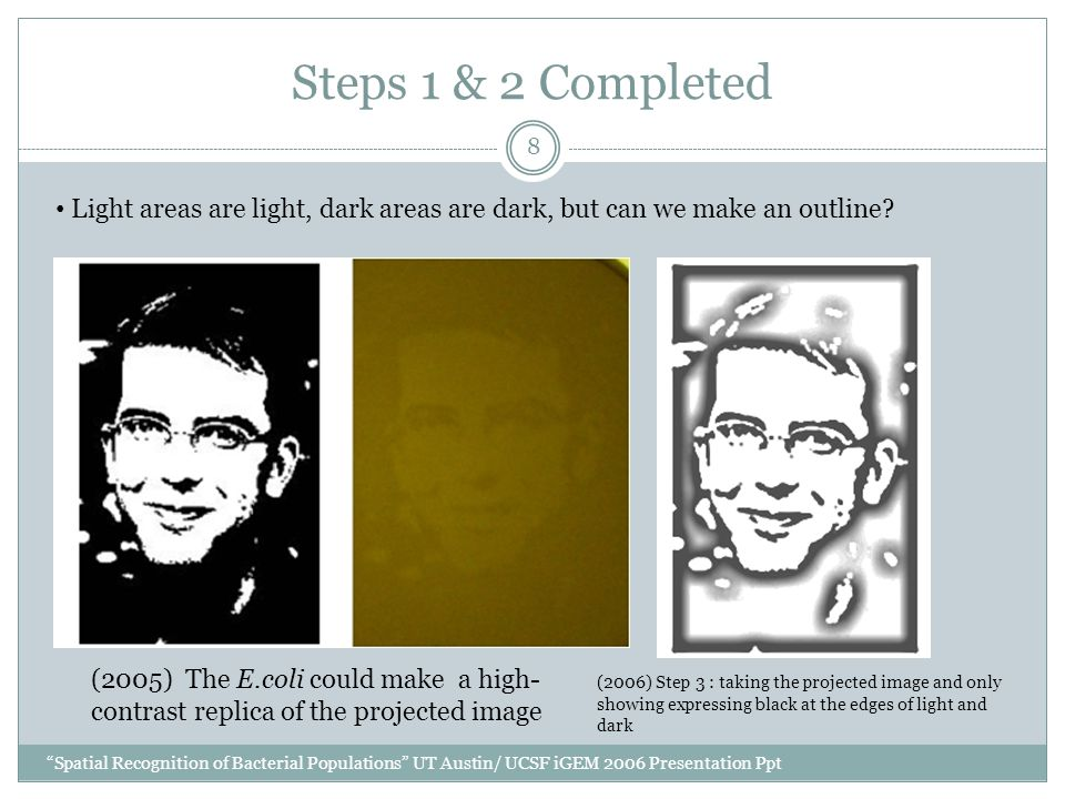 Steps 1 & 2 Completed Spatial Recognition of Bacterial Populations UT Austin/ UCSF iGEM 2006 Presentation Ppt 8 Light areas are light, dark areas are dark, but can we make an outline.