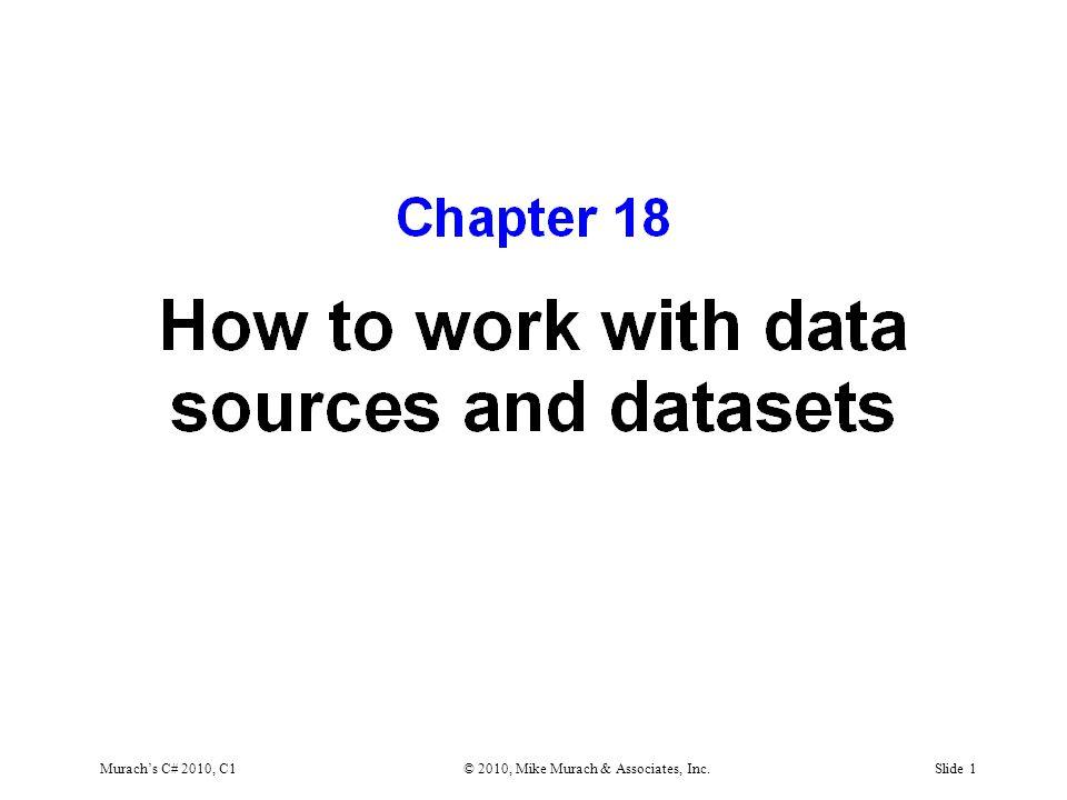 Murach's C# 2010, C1© 2010, Mike Murach & Associates, Inc.Slide 2