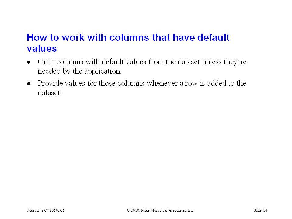 Murach's C# 2010, C1© 2010, Mike Murach & Associates, Inc.Slide 14