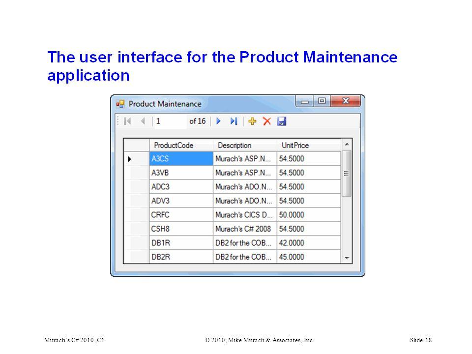 Murach's C# 2010, C1© 2010, Mike Murach & Associates, Inc.Slide 18