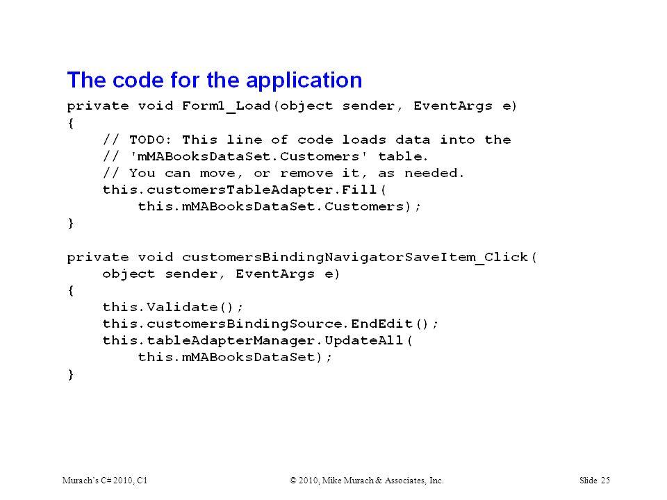 Murach's C# 2010, C1© 2010, Mike Murach & Associates, Inc.Slide 25