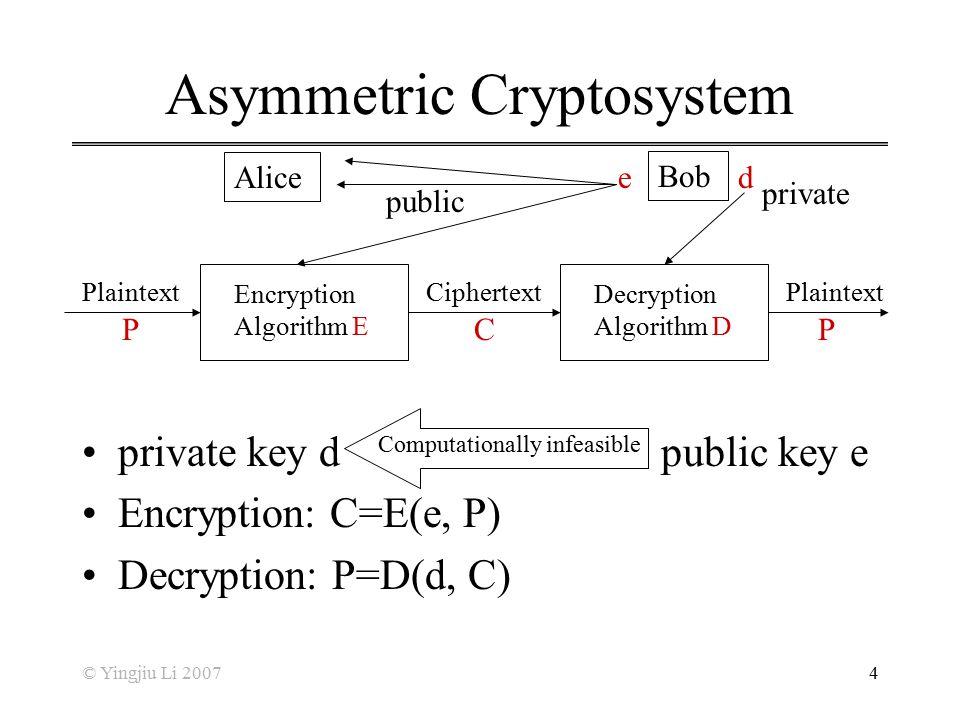 © Yingjiu Li 20074 Asymmetric Cryptosystem private key d public key e Encryption: C=E(e, P) Decryption: P=D(d, C) Encryption Algorithm E Decryption Al