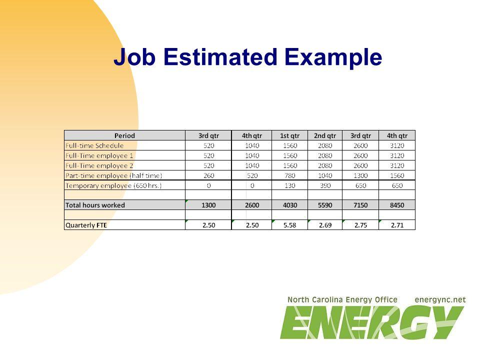 Job Estimated Example