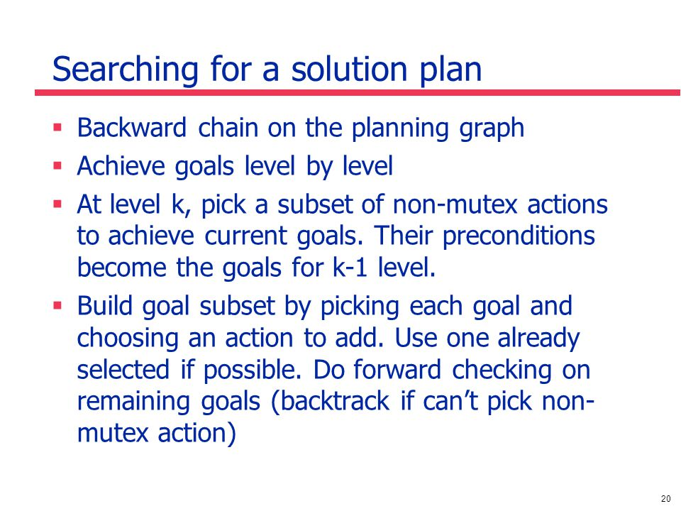 20 Searching for a solution plan  Backward chain on the planning graph  Achieve goals level by level  At level k, pick a subset of non-mutex actions to achieve current goals.