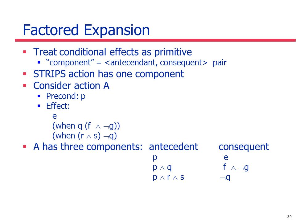 39 Factored Expansion  Treat conditional effects as primitive  component = pair  STRIPS action has one component  Consider action A  Precond: p  Effect: e (when q (f   g)) (when (r  s)  q)  A has three components: antecedent consequent p e p  q f   g p  r  s  q