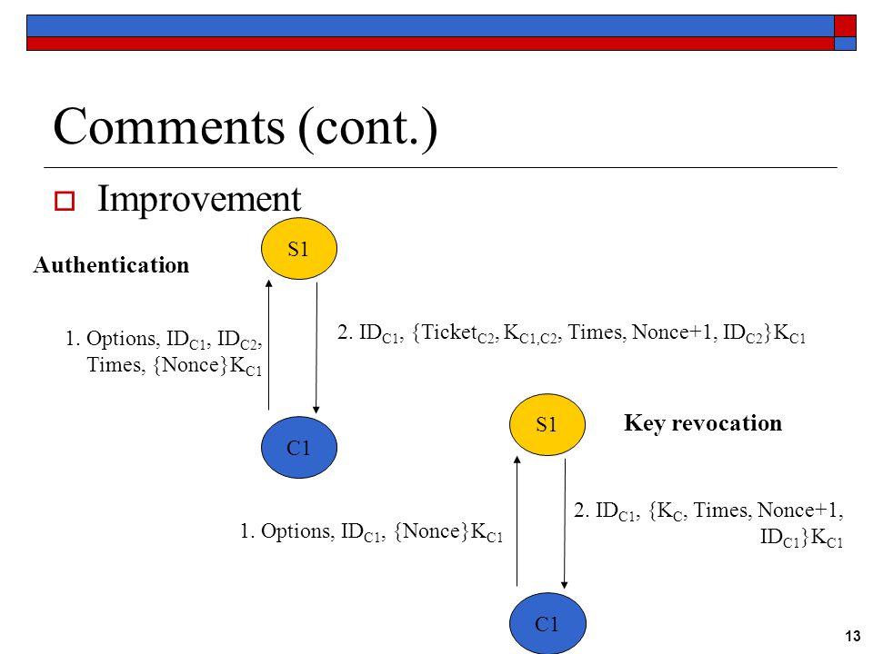 13 Comments (cont.)  Improvement S1 C1 S1 C1 Authentication Key revocation 1.