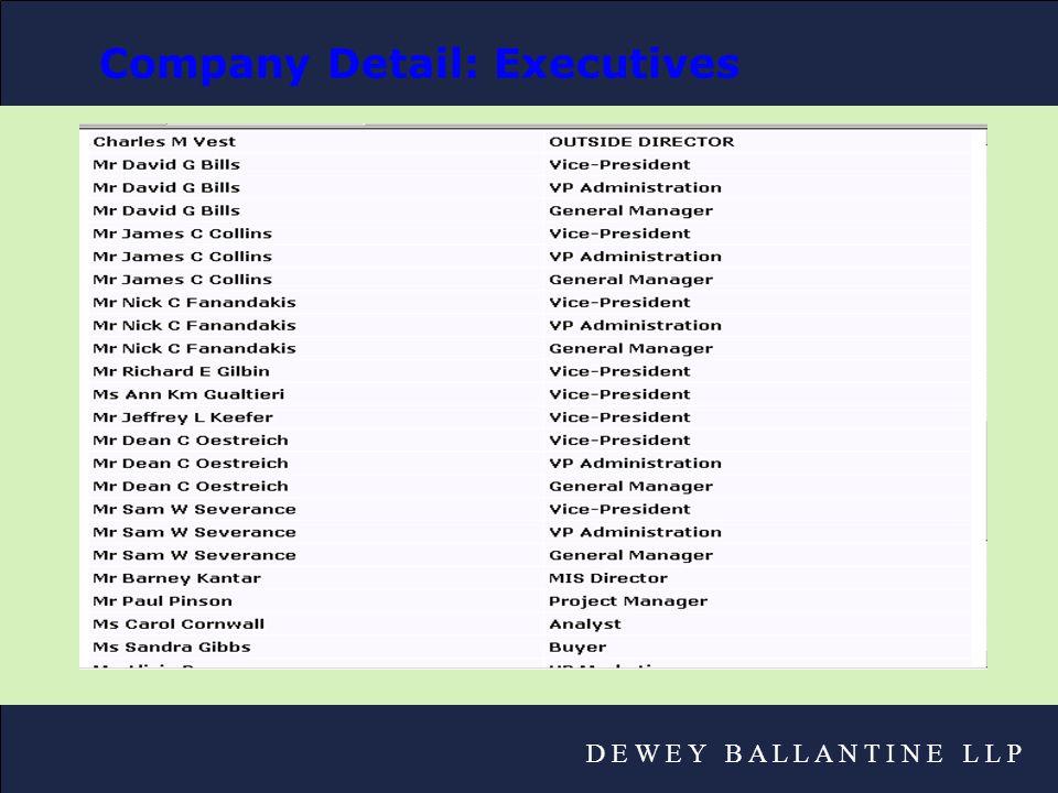 D E W E Y B A L L A N T I N E L L P Company Detail: Executives