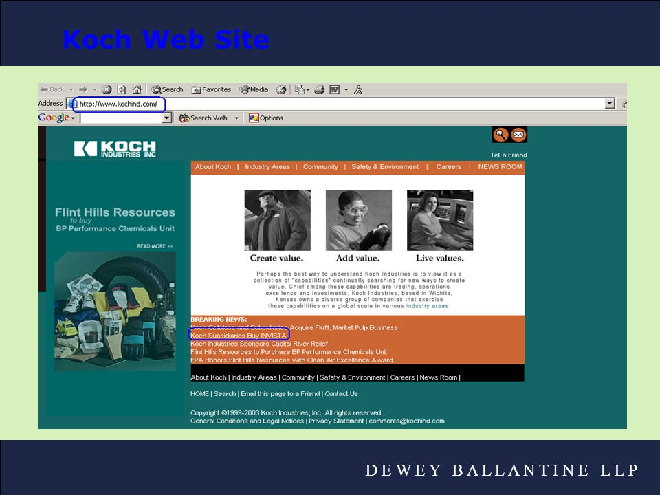 D E W E Y B A L L A N T I N E L L P Koch Web Site