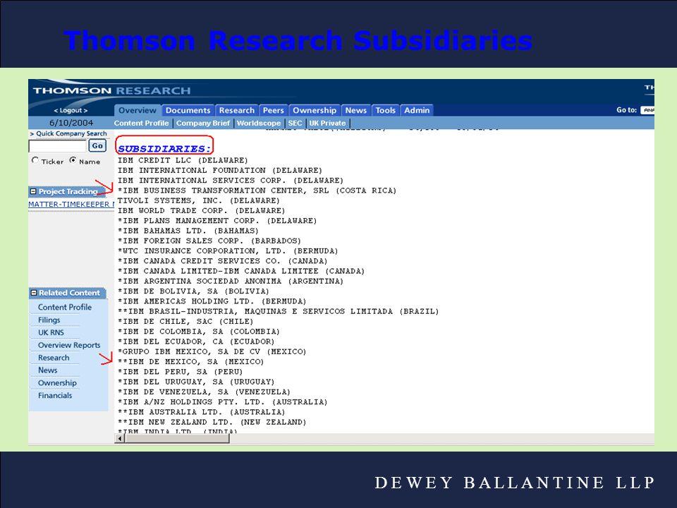 D E W E Y B A L L A N T I N E L L P Thomson Research Subsidiaries