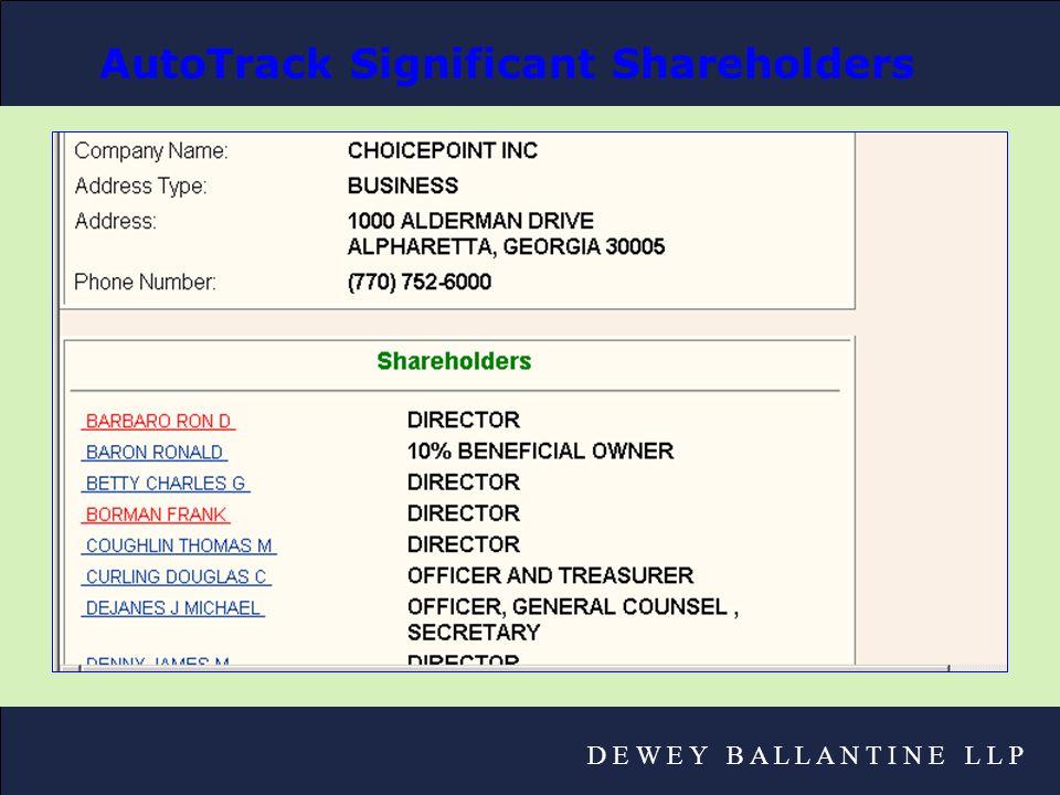 D E W E Y B A L L A N T I N E L L P AutoTrack Significant Shareholders
