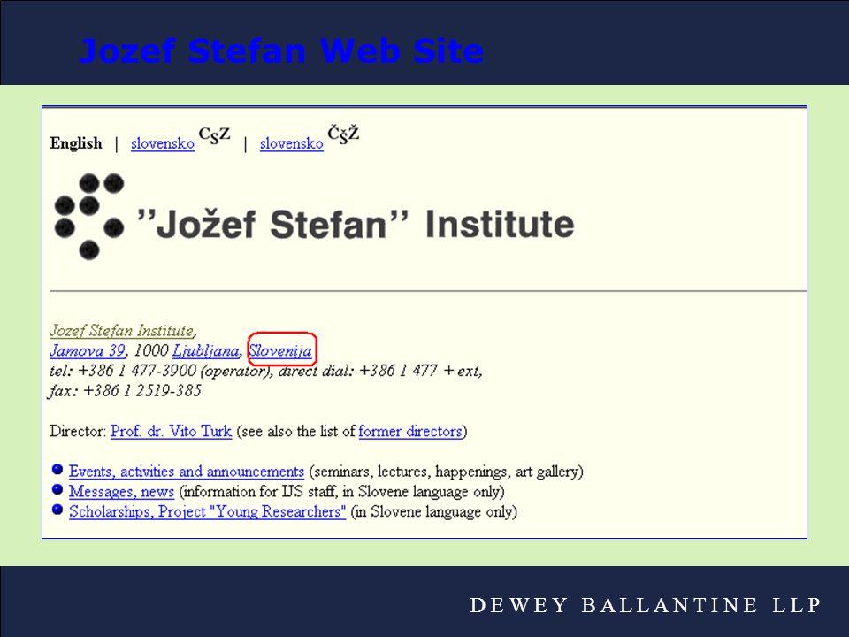 D E W E Y B A L L A N T I N E L L P Jozef Stefan Web Site