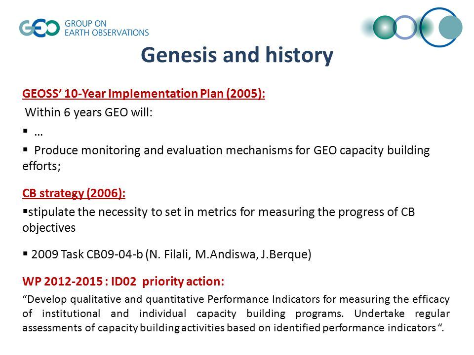 Former achievements Report on CB PI for 2009-2011 GEO WP submitted to CB committee, Poster presented during 7 th GEO plenary 2010 China, (CB boot).