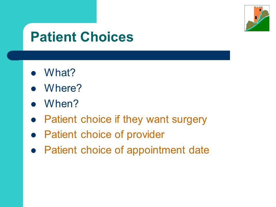 Patient Choices What.Where. When.