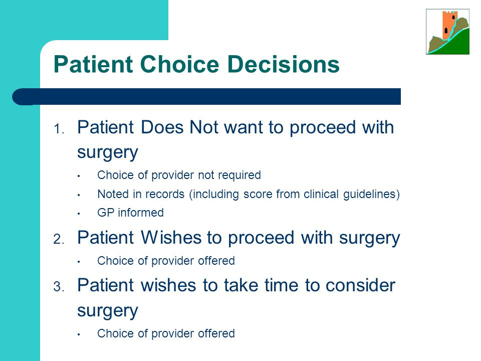 Patient Choice Decisions 1.