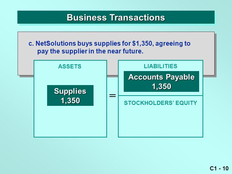 C1 - 10 Business Transactions ASSETS = LIABILITIES c.