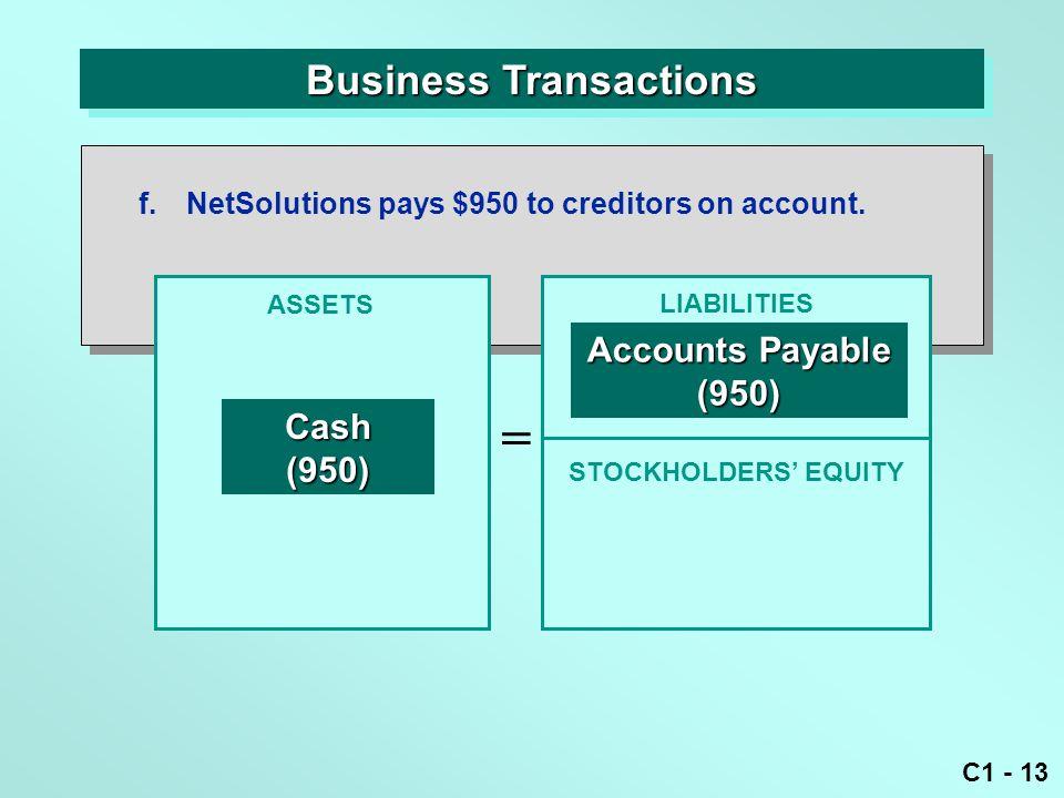C1 - 13 Business Transactions ASSETS = LIABILITIES Cash(950) Accounts Payable (950) f.