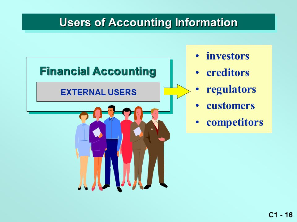 C1 - 16 EXTERNAL USERS Financial Accounting investors creditors regulators customers competitors Users of Accounting Information