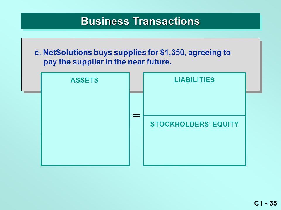 C1 - 35 Business Transactions ASSETS = LIABILITIES c.