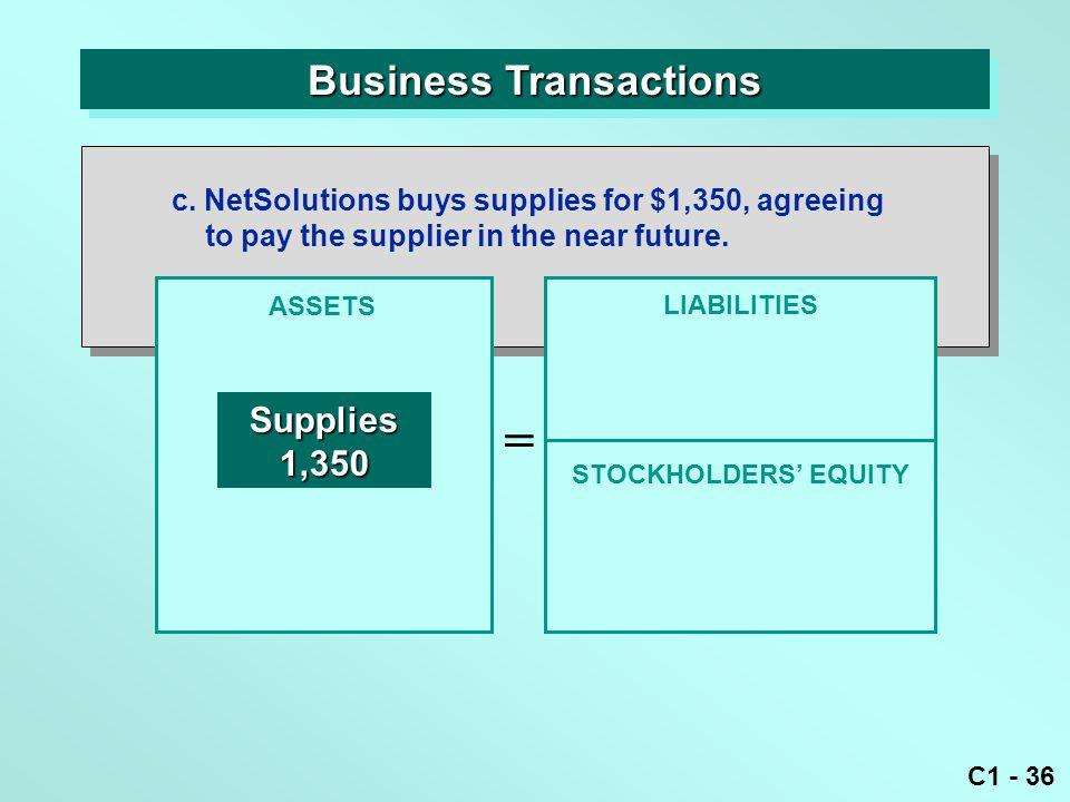 C1 - 36 Business Transactions ASSETS = LIABILITIES Supplies1,350 c.