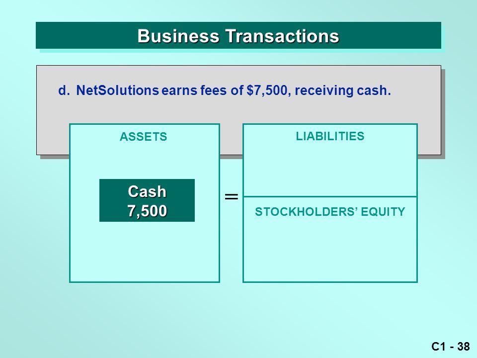 C1 - 38 Business Transactions ASSETS = LIABILITIES Cash7,500 d.NetSolutions earns fees of $7,500, receiving cash.