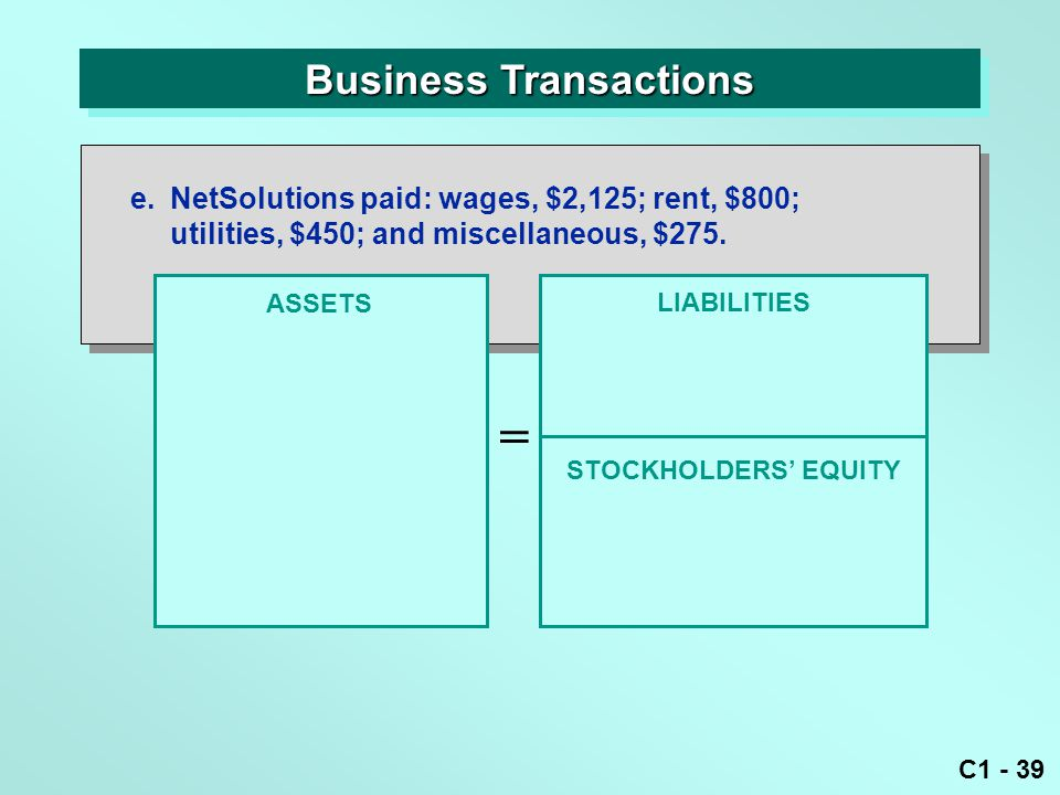 C1 - 39 Business Transactions ASSETS = LIABILITIES e.NetSolutions paid: wages, $2,125; rent, $800; utilities, $450; and miscellaneous, $275.
