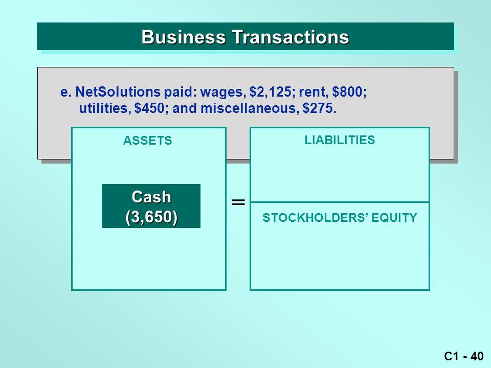 C1 - 40 Business Transactions ASSETS = LIABILITIES Cash(3,650) e.