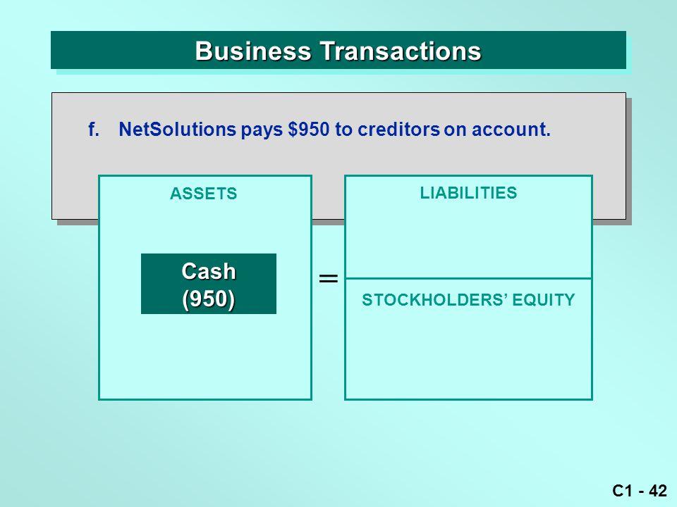 C1 - 42 Business Transactions ASSETS = LIABILITIES Cash(950) f.